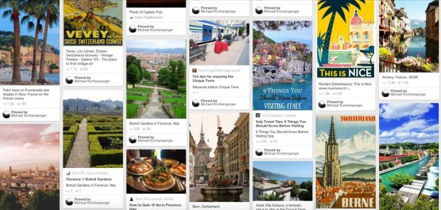 Use a Pinterest Board to collect travel ideas