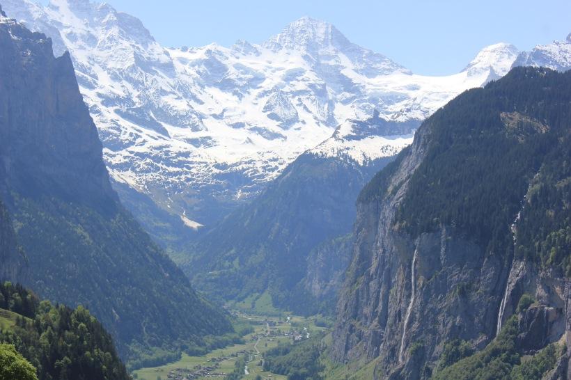 The view of Lauterbrunnen from Wengen